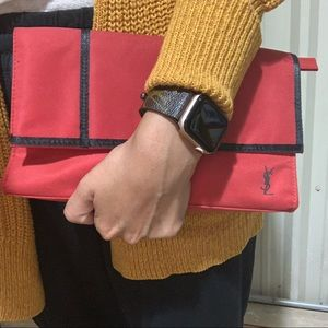 Yves Saint Laurent Parfums red makeup bag/ clutch